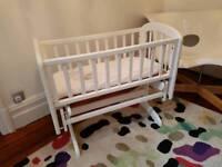 John Lewis White Anna glider crib excellent condition including mattress