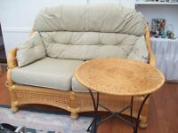 Wicker Two 2 seat Settee Sofa + Arm Chair set + non matching Coffee Table Funiture Conservatory