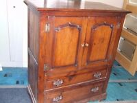Solid oak TV unit/Tallboy with drawers