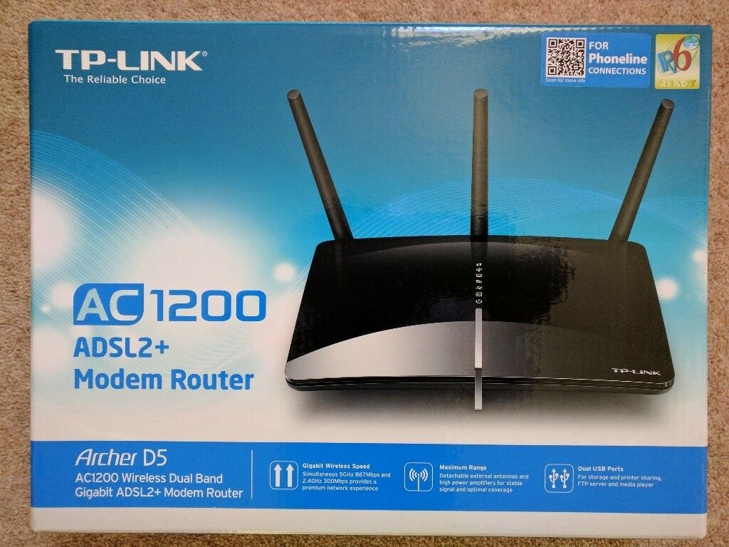 TP-LINK Archer D5 AC1200 Wireless Dual Band Gigabit ADSL2 Plus Modem ...