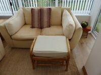 SOFA BED, CANE CHAIR AND FOOTSTOOL