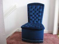 Blue velour chair