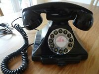 Black Classic Push Button Home Phone