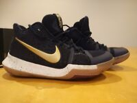 Nike Kyrie 3 basketball shoes, navy with gold trim. UK size 6.5