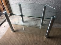 John Lewis Clear Glass And Chrome Quality TV Stand Fits Upto 50in