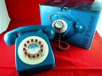 RETRO STYLE TELEPHONE WILD & WOLF 746 BLUE PUSH BUTTON PHONE BOXED