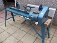 a wood turning lathe
