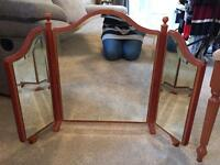 Solid wood dressing table mirror