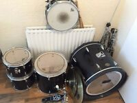 Full Drum Kit, 2nd hand, good as new: Remo Aquarian Superkick Drumkit