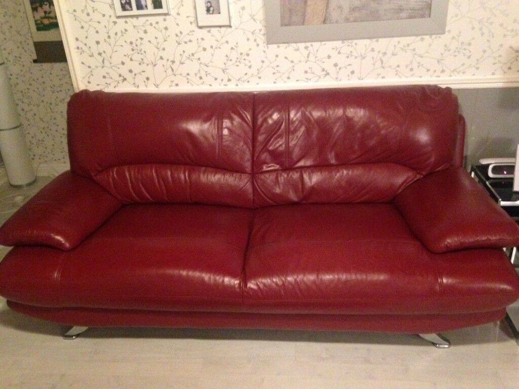Red leather couch for sale - 3 seater, 2 seater and chair for sale Knightswood