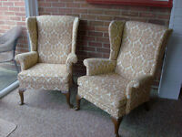 Pair of Parker Knoll High Back Wing Back Chairs