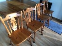 Pine table and 4 chairs