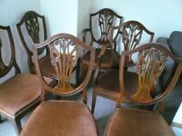 DINING CHAIRS. SET OF SIX HEPPLEWHITE, SHIELD BACK STYLE.
