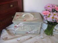 Shabby Chic upcycled duck patterned solid pine bread bin