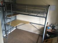 Metal frame high bed . Already dismantled. Buyer to collect
