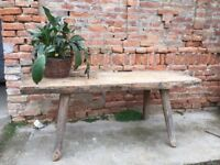Heavy Timber Antique Butchers Block Table Furniture, Wooden Side Board VINTAGE