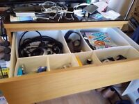 ★ IKEA MALM – 4 DRAW DRESSER – Oak + Extra Drawer Organisers + Glass Topper ★