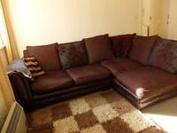 Brown/Red Corner Sofa with Cushioned Back £100 ONO