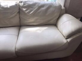 **Extremely comfy** genuine (white) leather sofa - needs to be collected from NW London Zone 2