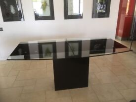 Glass Extending Table with Granite Base & 4 Leather Chairs