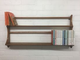 Ercol elm plate rack - idea repurposed as a bookshelf.
