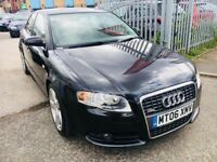 AUDI A4 S LINE DIESEL MANUAL SALOON BLACK 2006 LEATHER 1 OWNER HISTORY 2.0 TDI