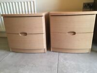 Pair of beech bedside cabinets