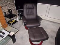 Recliner Brown Massage Heat Chair And Foot Stool