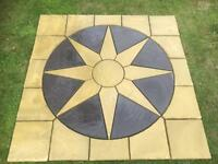 2.25x2.25m Paving Circle Square Patio Feature Kit Star Sun Buff Charcoal