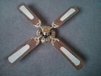 Ceiling Fan. 1950's style. 3 or 4 speed. 1met overall diameter.
