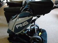 ping cart bag, alien sport irons with graphite shafts 3-sw, electric golf buggy. new battery, ex con