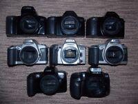 Job lot of 8 broken SLR film camera's, (no lenses), would make a nice display or up cycled