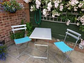 "Patio Garden Table & 2 Chairs, Bistro, John Lewis ""Emu"", Aluminium, with Blue Magnetic Seat Pads"