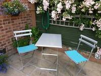 """Patio Garden Table & 2 Chairs, Bistro, John Lewis """"Emu"""", Aluminium, with Blue Magnetic Seat Pads"""
