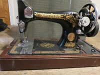 Singer Hand Crank Sewing Machine & Manual & Case + accessories