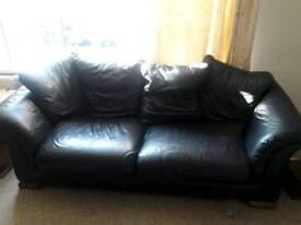 Large three seater black leather