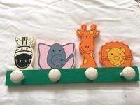 Childs Beautiful Wooden Animal Coat Peg Rack