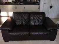 2x Leather double sofa