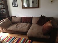 2 piece corner sofa, brown fabric , with cushions and extra throw cushions