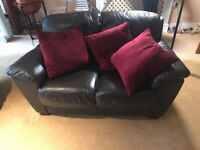 DFS DARK BROWN LEATHER 3+2 SEATER SOFAS - MUST GO ASAP - CHEAP DELIVERY - £250
