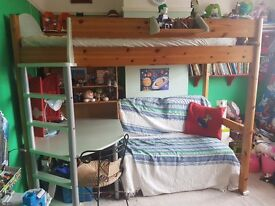 Stompa High Sleeper Bunk Bed Next Generation desk and futon pull out +extras!