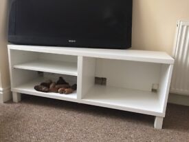 White Ikea TV unit. Collection onlyExcellent condition. Width 120 cm, height 50 cm and depth 40 cm.