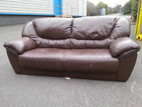 Brown 3 Seater Leather Couch Sofa - DELIVERY AVAILABLE