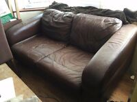 Brown Leather Lounge Suite - 3 seater corner, 2 seater plus single swivel chair