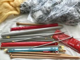 Wool , knitting needles and other craft bits and bobs