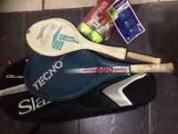 Badminton racket and tennis racket with accessories