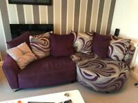 DFS Purple Chaise sofa, arm chair and footstool