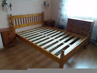 Pine bedroom furniture:double size bedframe,5 drawer chest,2 bed side lockers.Kitchen table +6 chair