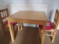 IKEA CHILDREN'S SMALL WOODEN TABLE & TWO MATCHING CHAIRS