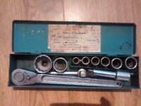 vintage socket set British made AF Metric